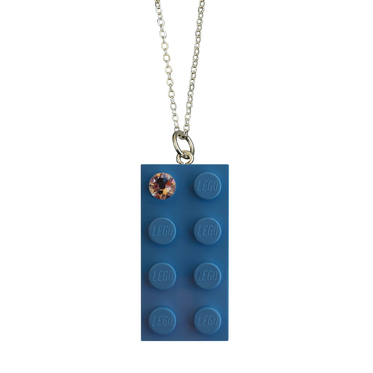 """Light Blue LEGO® brick 2x4 with a 'Diamond' color SWAROVSKI® crystal on a Silver plated trace chain (18"""" or 24"""")"""