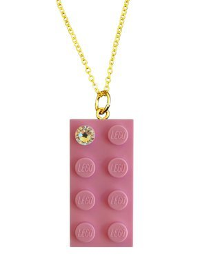 Light Pink LEGO® brick 2x4 with a 'Diamond' color SWAROVSKI® crystal on a Gold plated trace chain (18