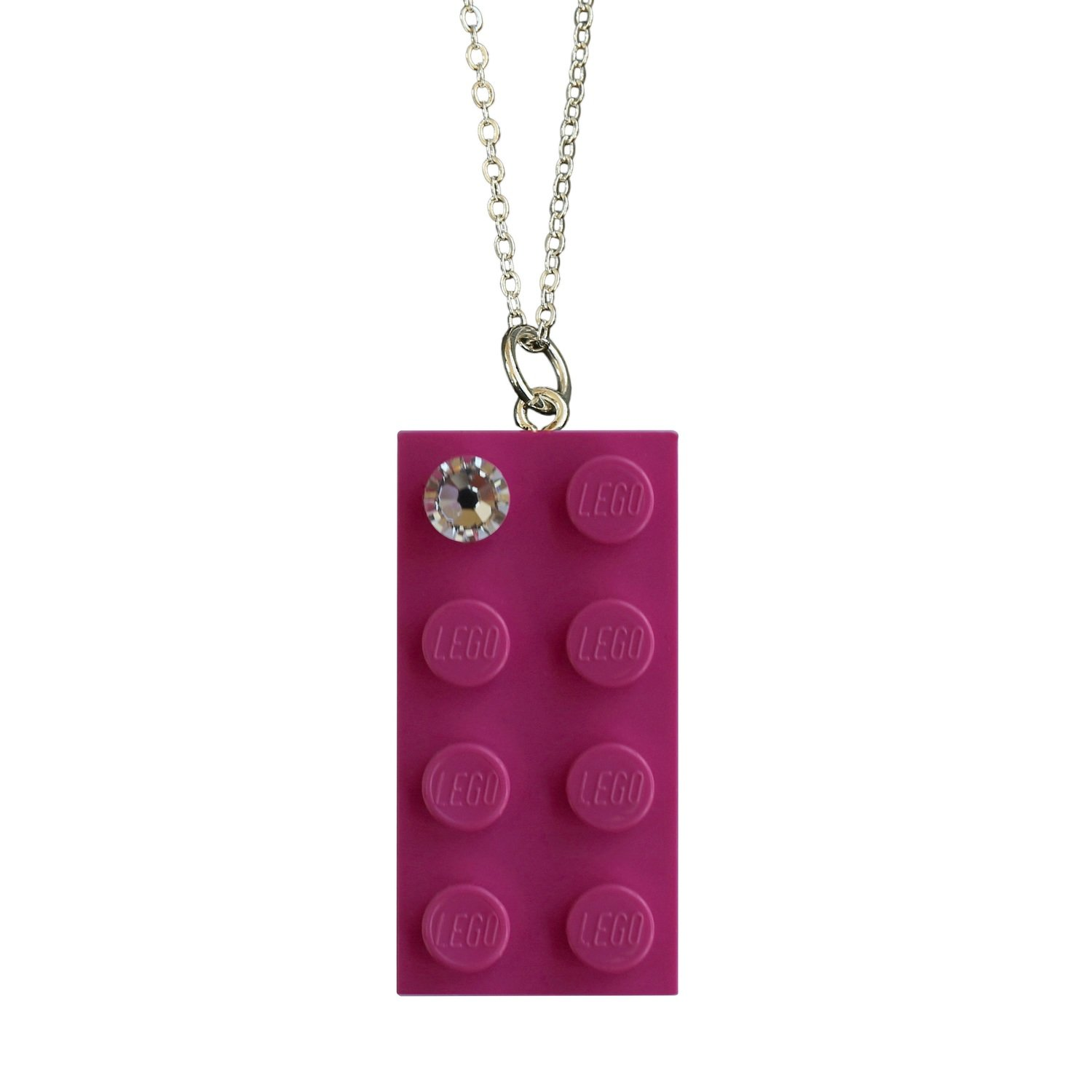 """Dark Pink LEGO® brick 2x4 with a 'Diamond' color SWAROVSKI® crystal on a Silver plated trace chain (18"""" or 24"""")"""
