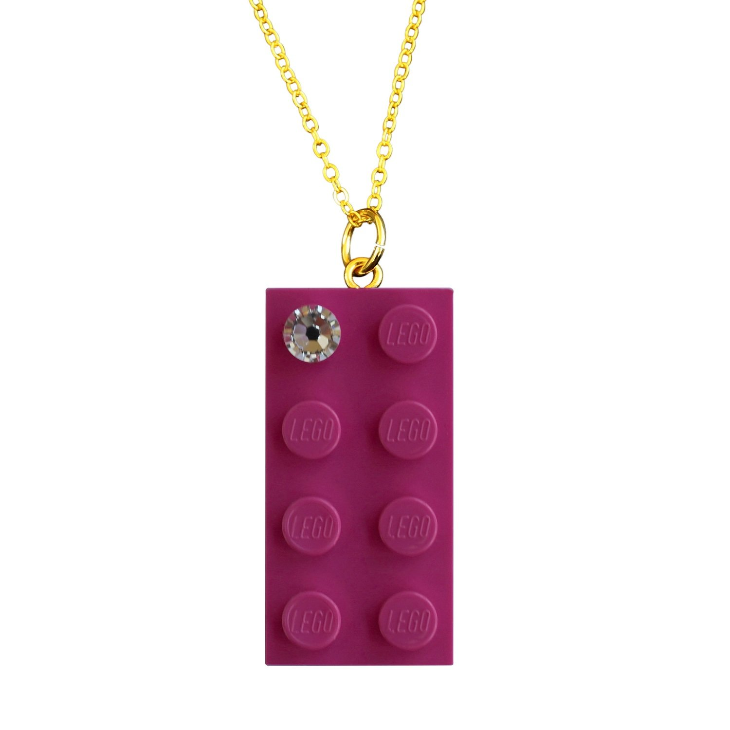 """Dark Pink LEGO® brick 2x4 with a 'Diamond' color SWAROVSKI® crystal on a Gold plated trace chain (18"""" or 24"""")"""