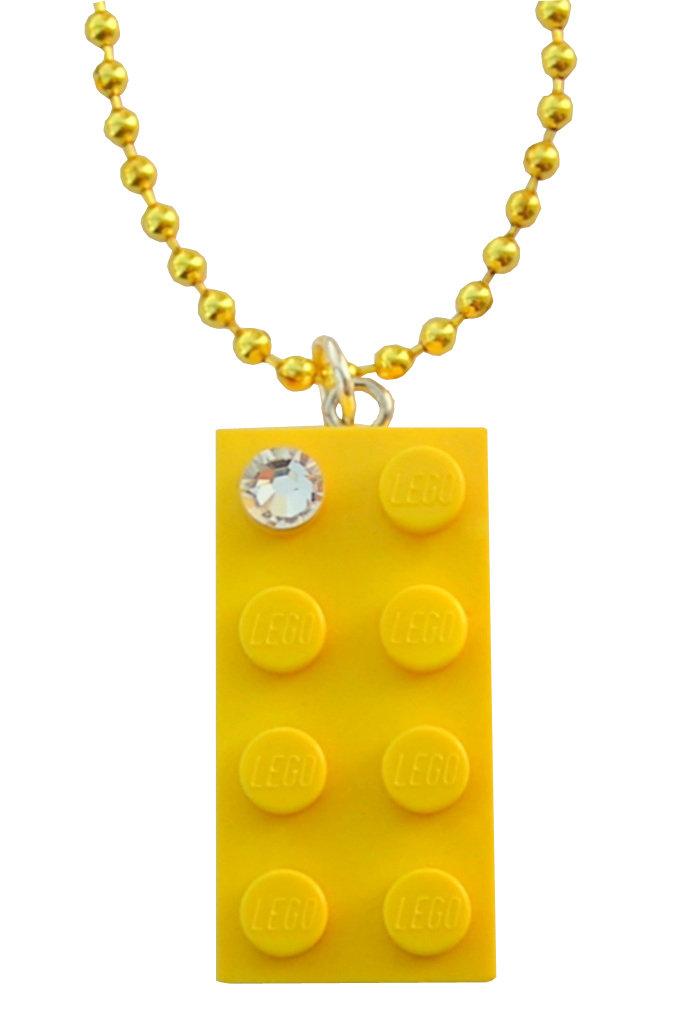 "Yellow LEGO® brick 2x4 with a 'Diamond' color SWAROVSKI® crystal on a 24"" Yellow ballchain"