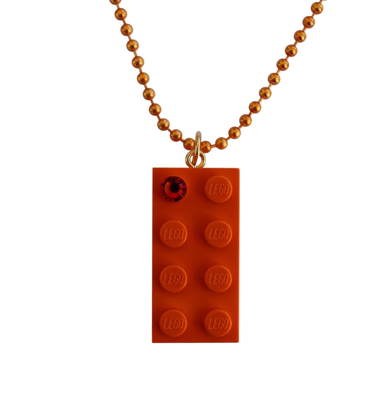 "Orange LEGO® brick 2x4 with an Orange SWAROVSKI® crystal on a 24"" Orange ballchain"