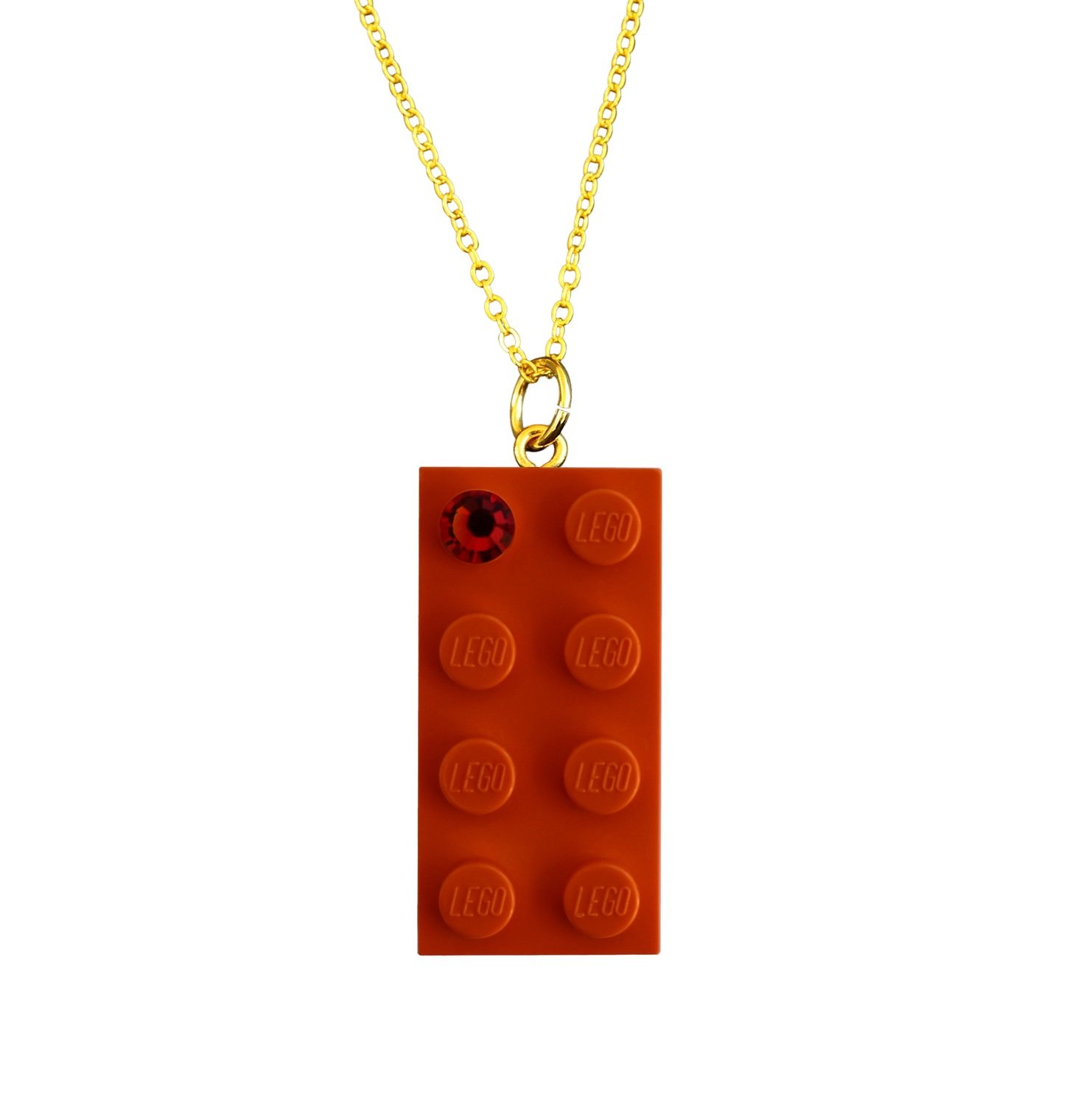 "​​Orange LEGO® brick 2x4 with an Orange SWAROVSKI® crystal on a Gold plated trace chain (18"" or 24"")"