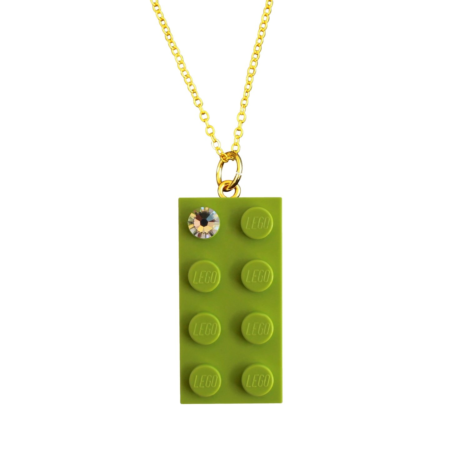 """Light Green LEGO® brick 2x4 with a 'Diamond' color SWAROVSKI® crystal on a Gold plated trace chain (18"""" or 24"""")"""