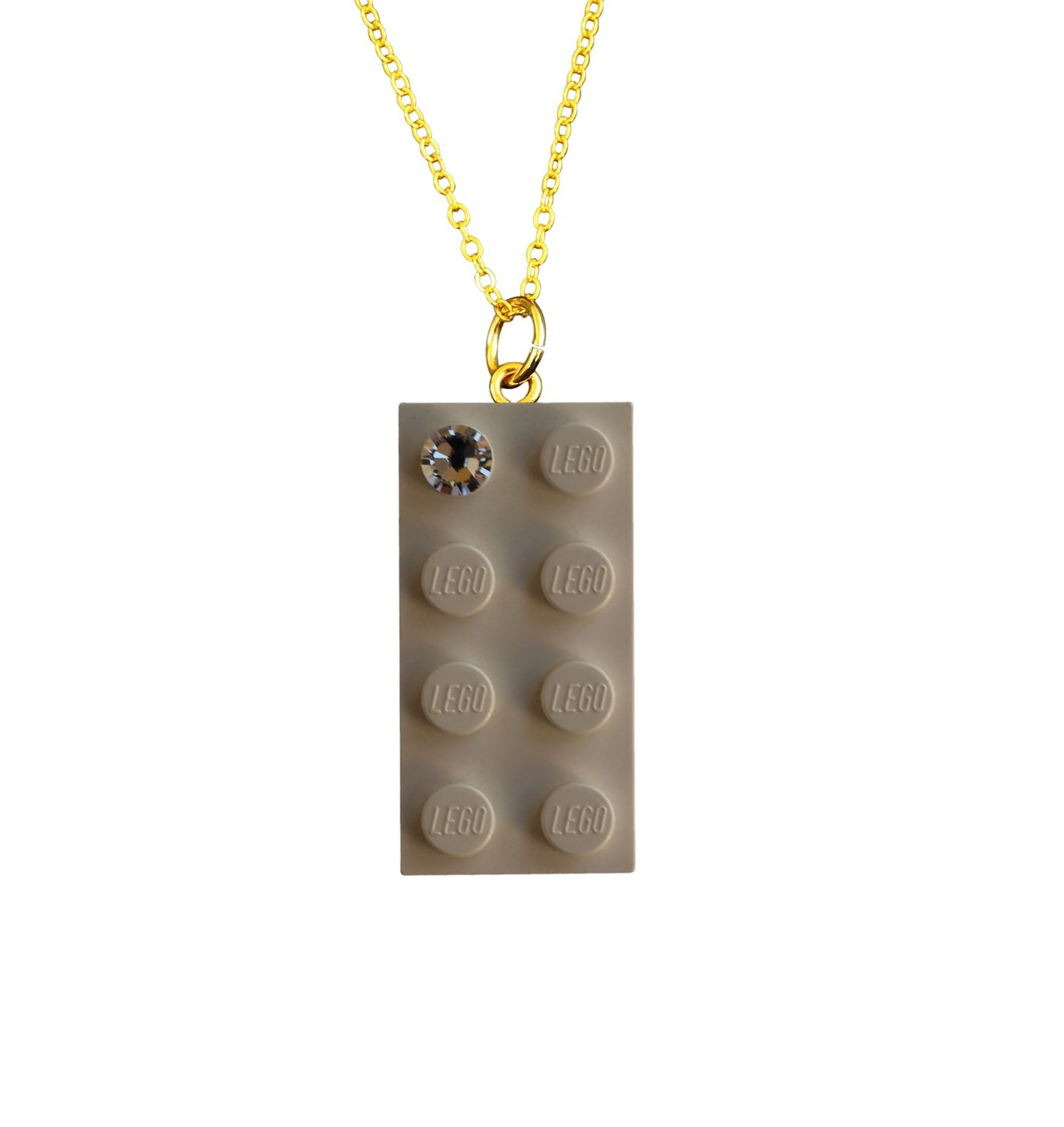"White LEGO® brick 2x4 with a 'Diamond' color SWAROVSKI® crystal on a Gold plated trace chain (18"" or 24"")"