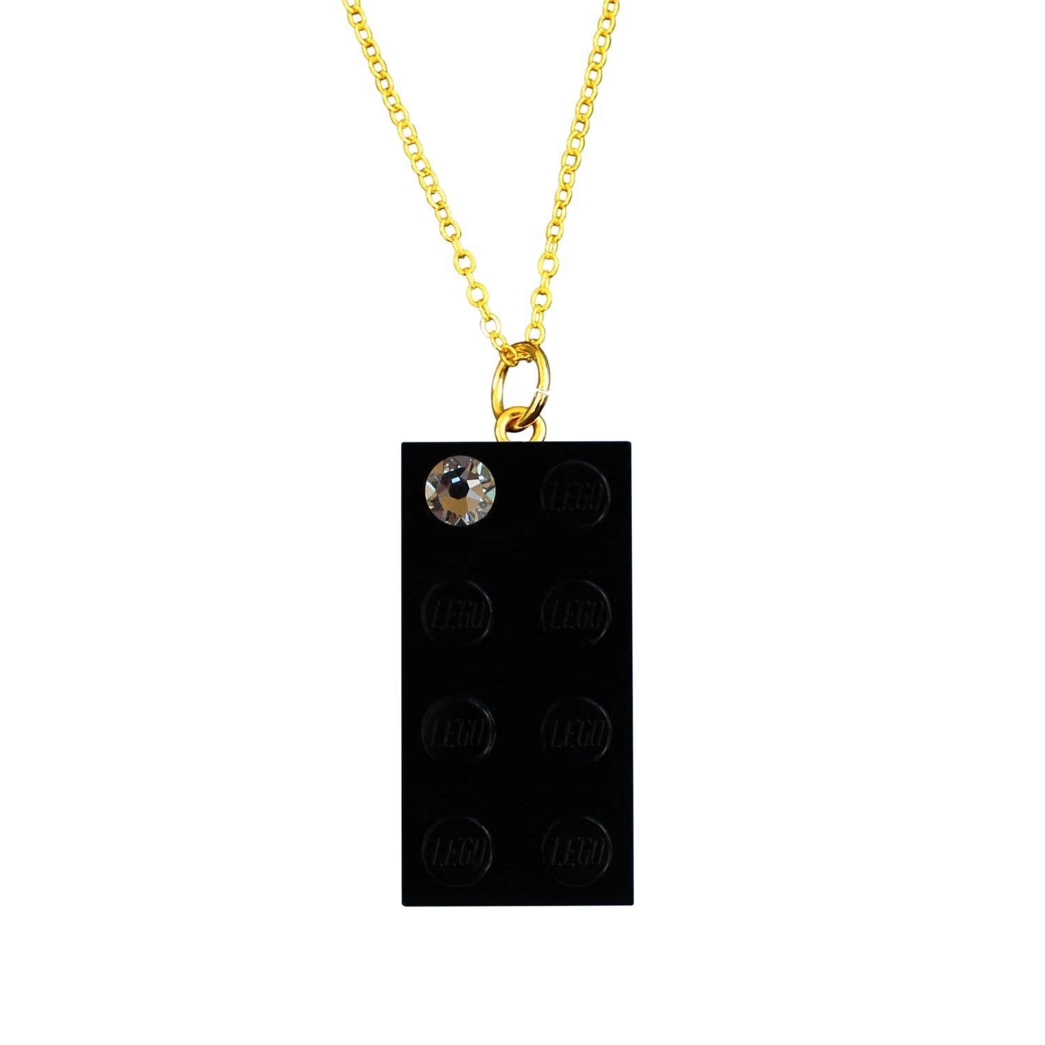 """Black LEGO® brick 2x4 with a 'Diamond' color SWAROVSKI® crystal on a Gold plated trace chain (18"""" or 24"""")"""