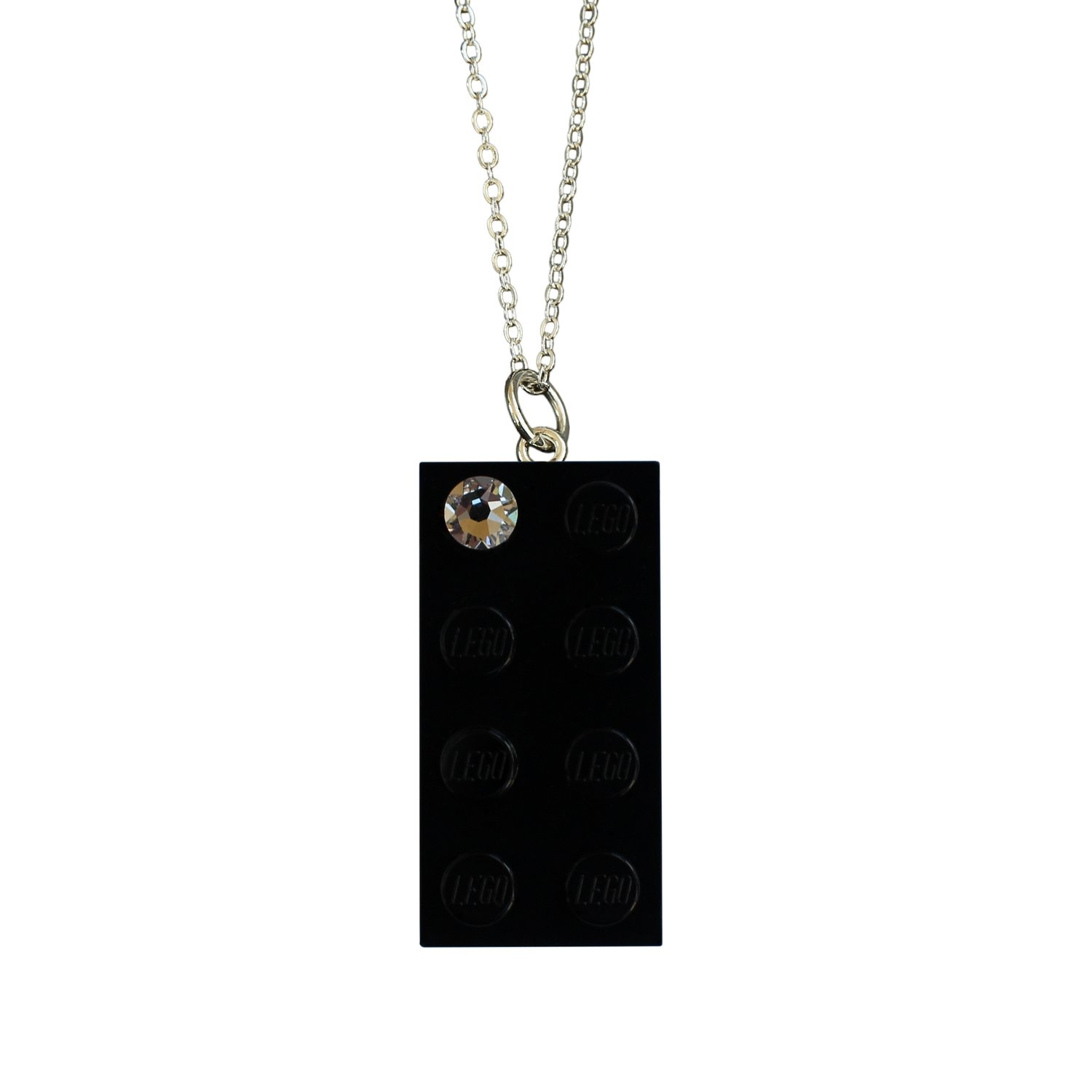 """Black LEGO® brick 2x4 with a 'Diamond' color SWAROVSKI® crystal on a Silver plated trace chain (18"""" or 24"""")"""