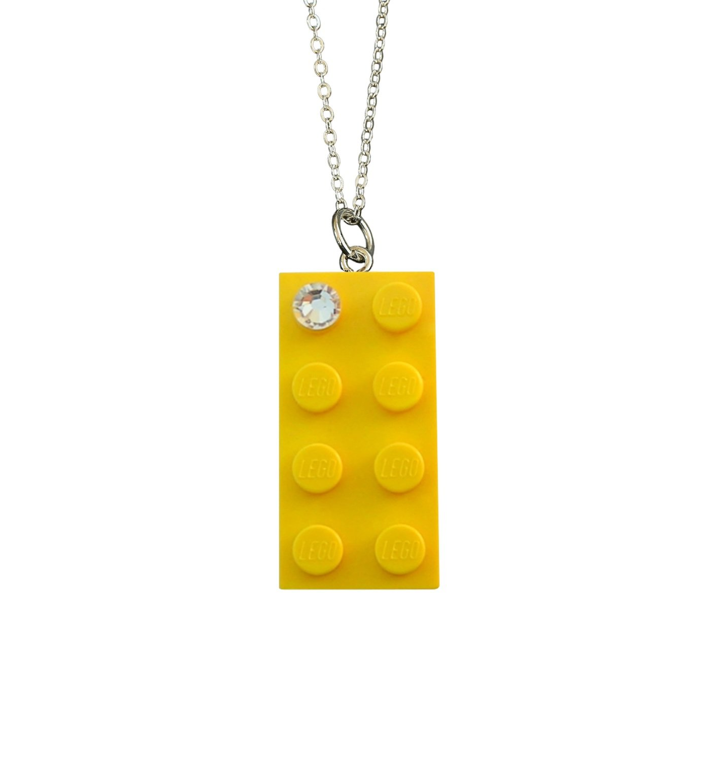 "​Yellow LEGO® brick 2x4 with a 'Diamond' color SWAROVSKI® crystal on a Silver plated trace chain (18"" or 24"")"