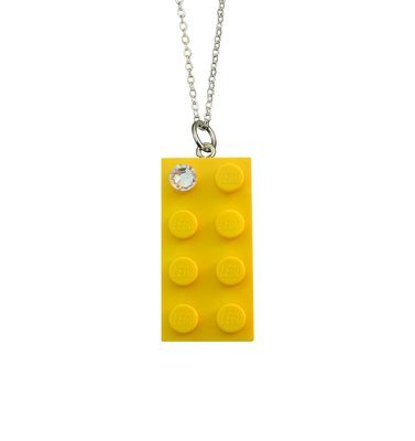 Yellow LEGO® brick 2x4 with a 'Diamond' color SWAROVSKI® crystal on a Silver plated trace chain (18