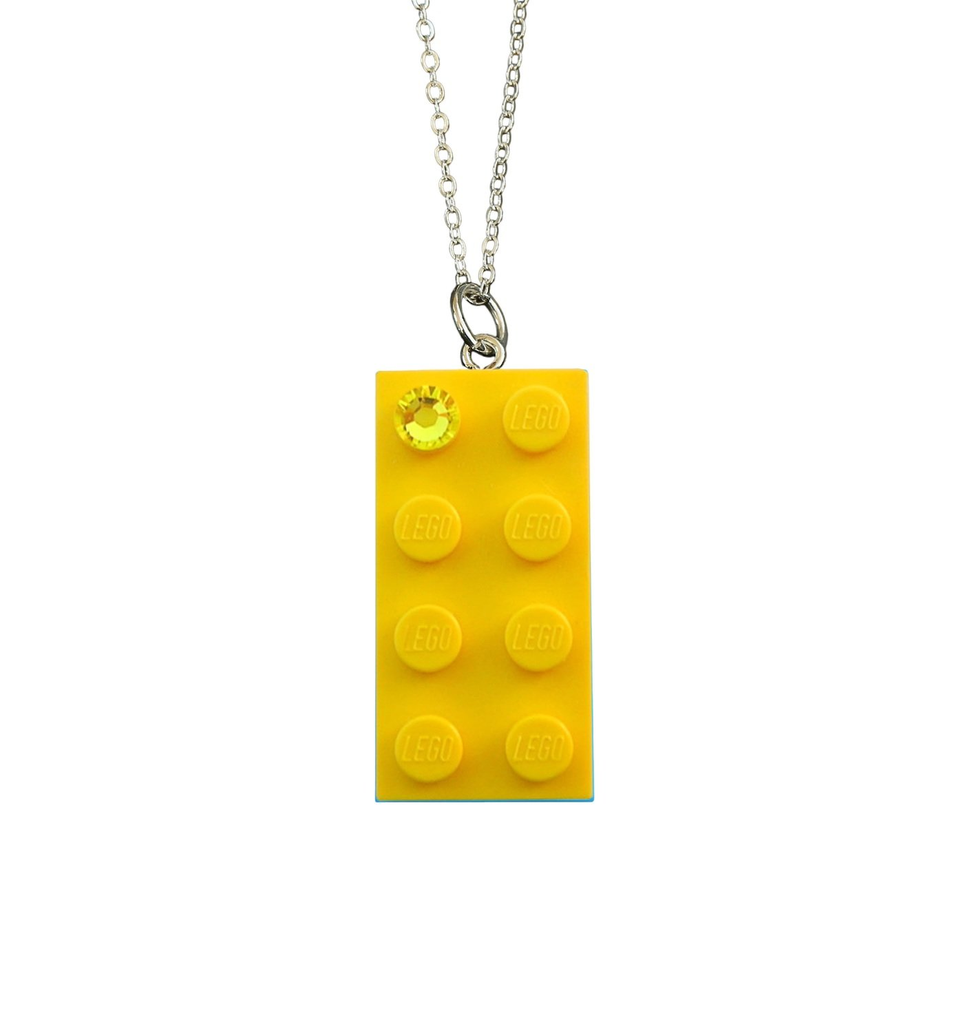 """Yellow LEGO® brick 2x4 with a Yellow SWAROVSKI® crystal on a Silver plated trace chain (18"""" or 24"""")"""
