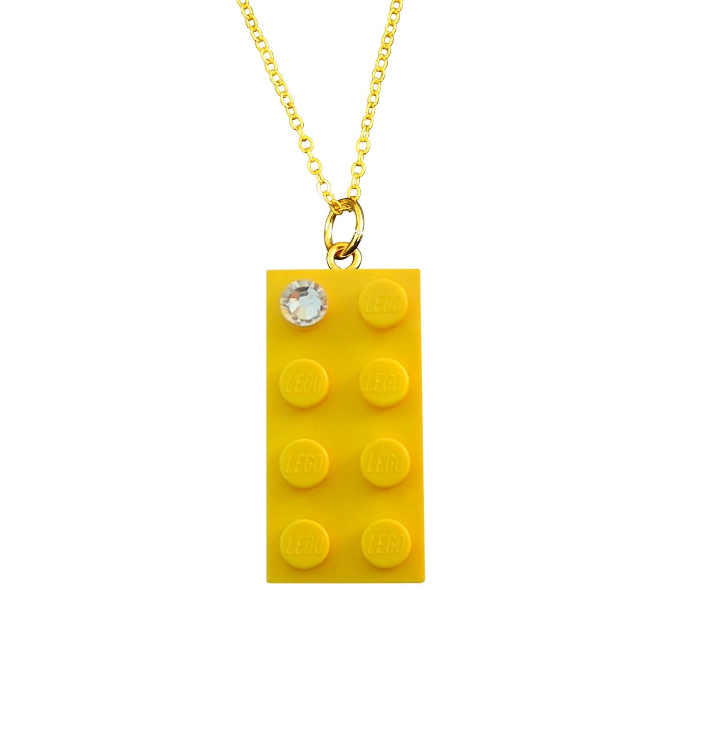 """Yellow LEGO® brick 2x4 with a 'Diamond' color SWAROVSKI® crystal on a Gold plated trace chain (18"""" or 24"""")"""