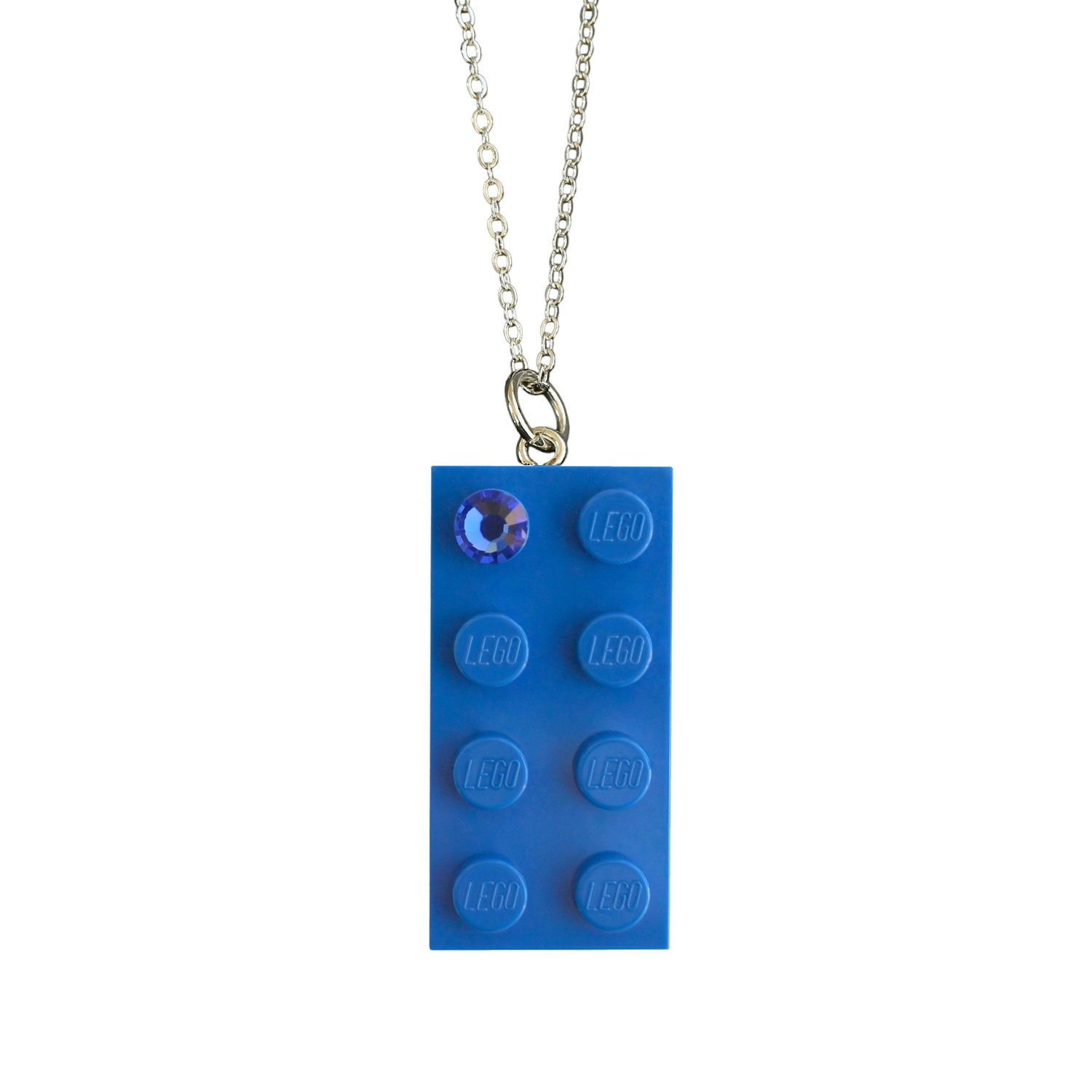 "Dark Blue LEGO® brick 2x4 with a Blue SWAROVSKI® crystal​ on a Silver plated trace chain (18"" or 24"")"
