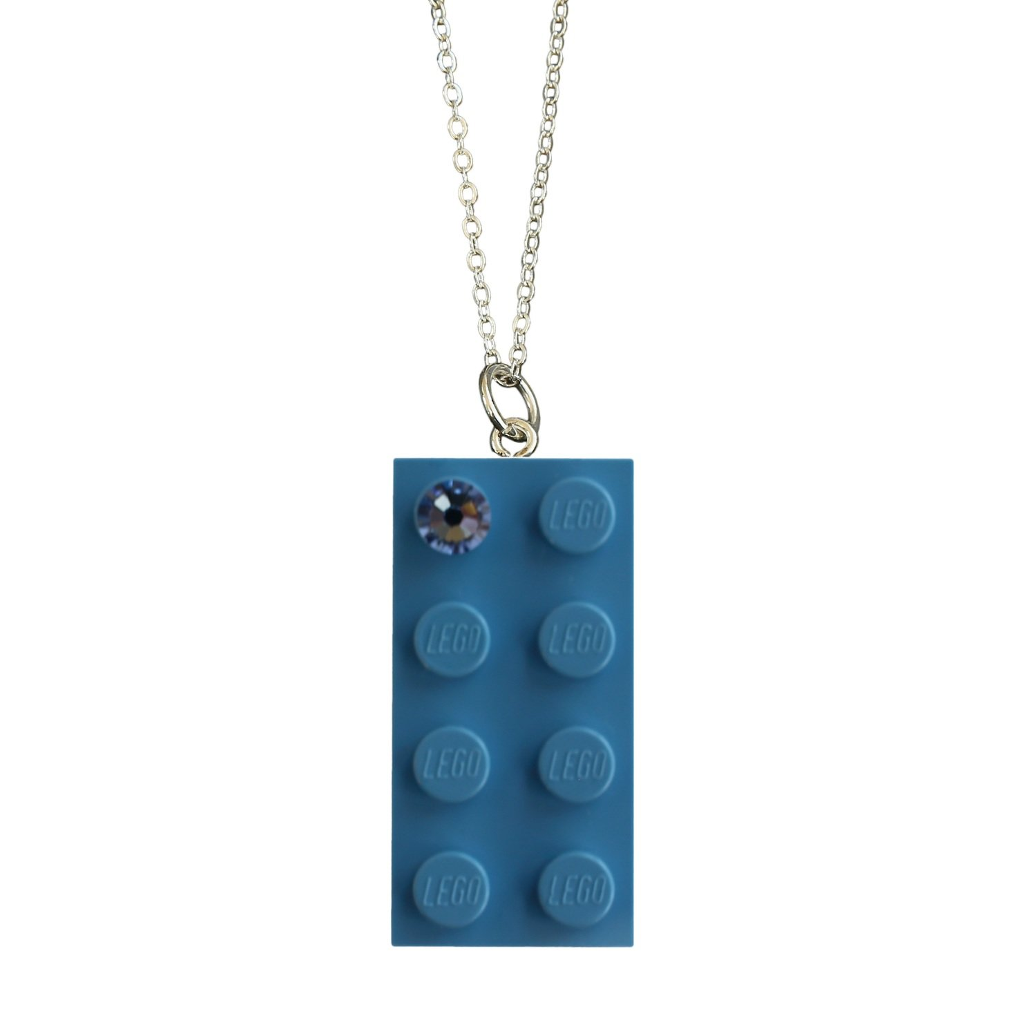 "Light Blue LEGO® brick 2x4 with a Blue SWAROVSKI® crystal on a Silver​ trace chain (18"" or 24"")"