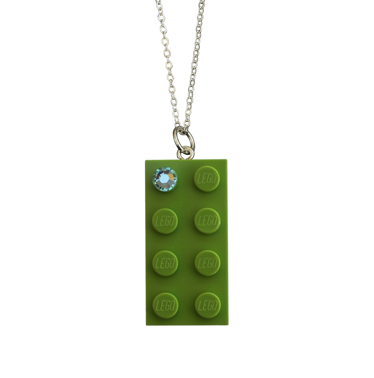 """Light Green LEGO® brick 2x4 with a Green SWAROVSKI® crystal on a Silver trace chain (18"""" or 24"""")"""