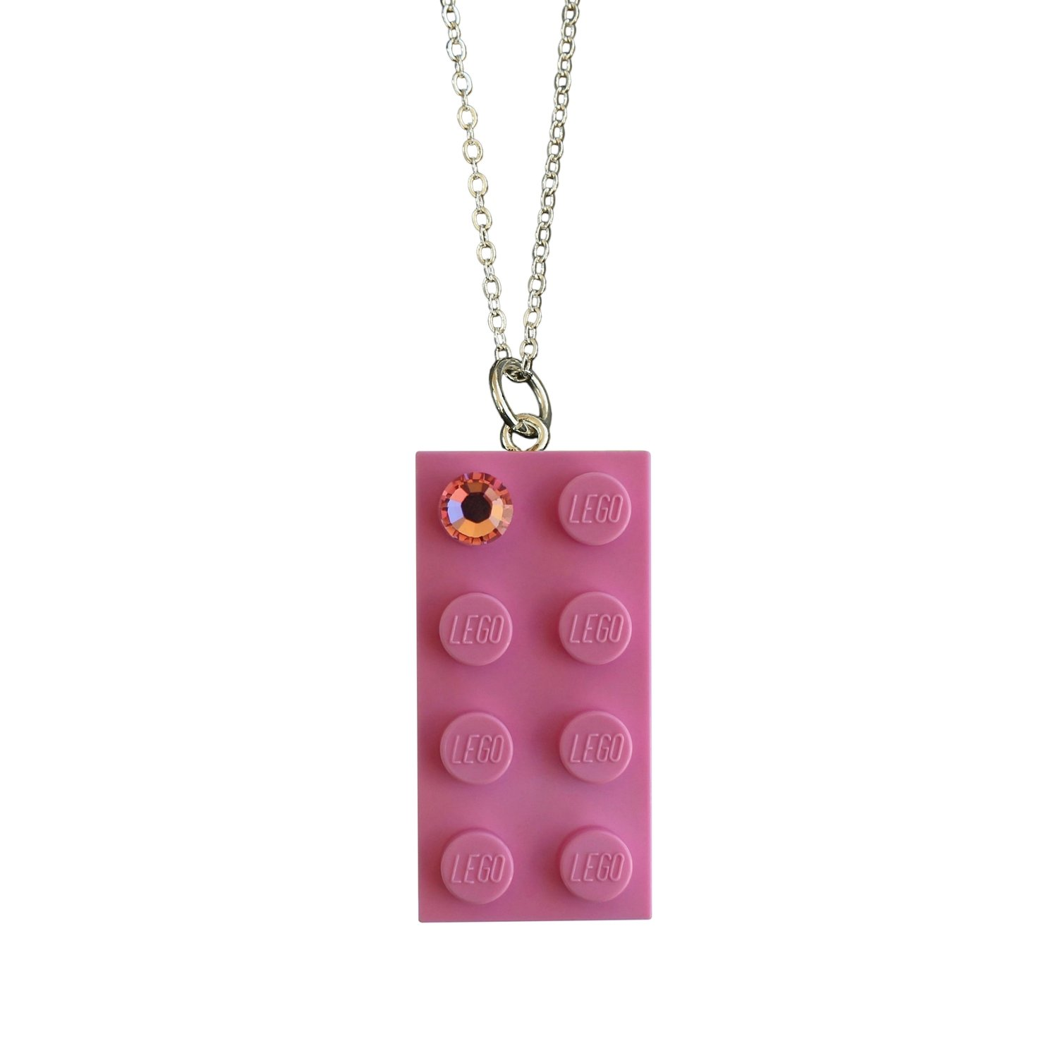 """Light Pink LEGO® brick 2x4 with a Pink SWAROVSKI® crystal on a Silver plated trace chain (18"""" or 24"""")"""