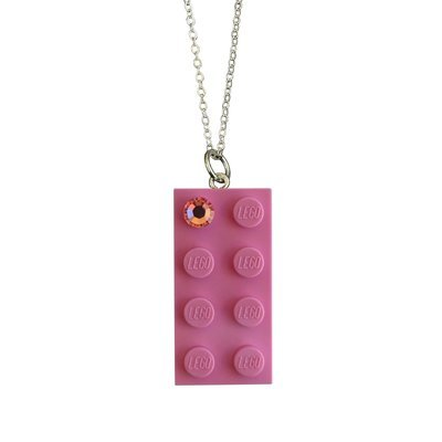 Light Pink LEGO® brick 2x4 with a Pink SWAROVSKI® crystal on a Silver plated trace chain (18