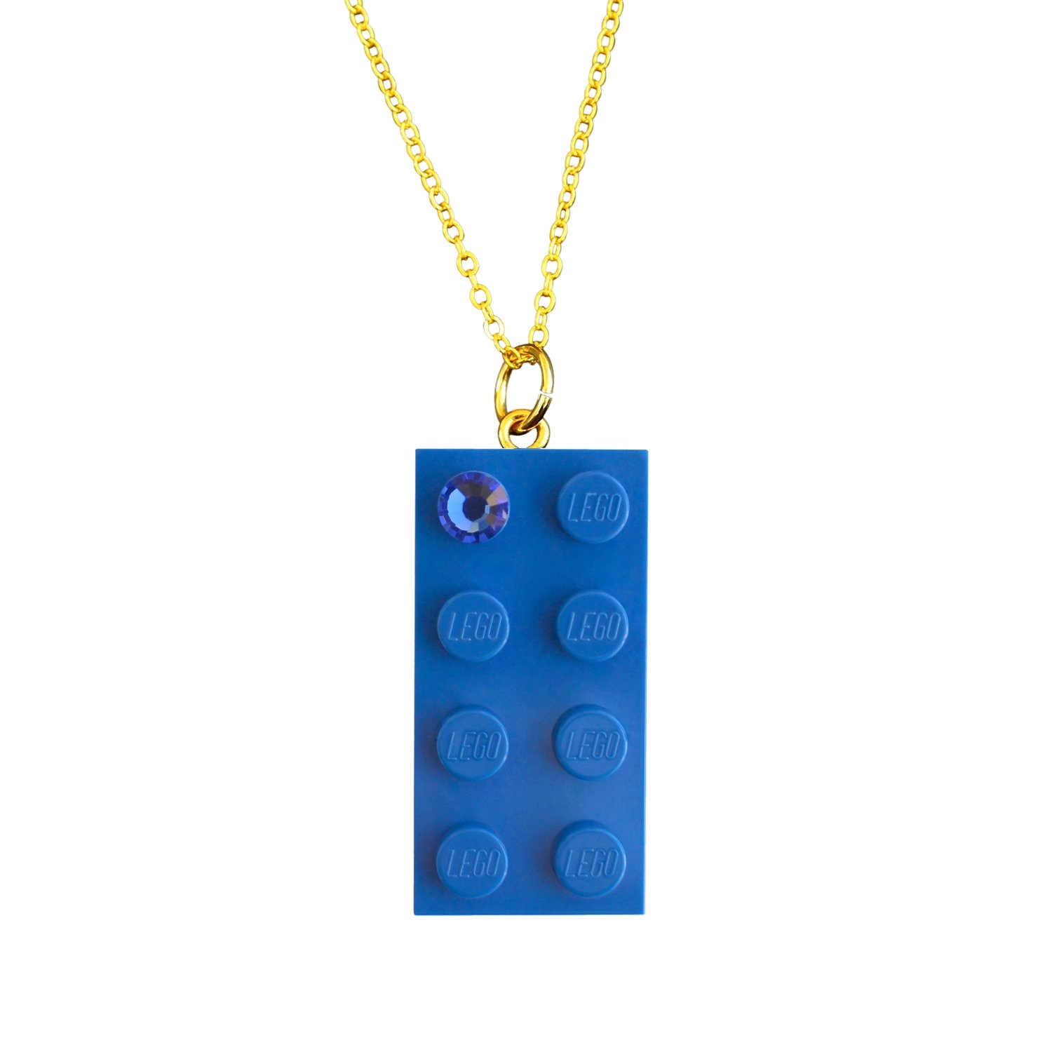 "Dark Blue LEGO® brick 2x4 with a Blue SWAROVSKI® crystal on a Gold plated trace chain (18"" or 24"")"