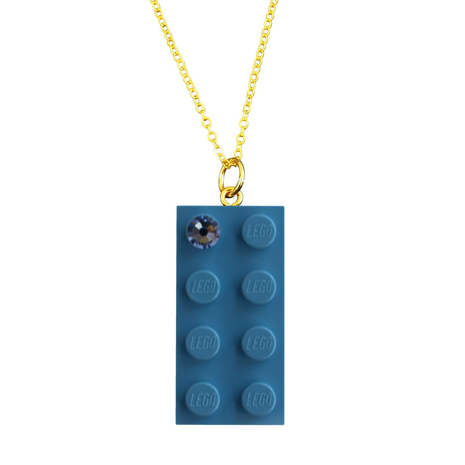 """Light Blue LEGO® brick 2x4 with a Blue SWAROVSKI® crystal on a Gold plated trace chain (18"""" or 24"""")"""