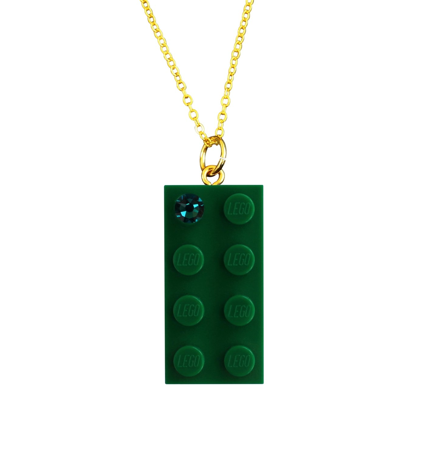 """Dark Green LEGO® brick 2x4 with a Green SWAROVSKI® crystal on a Gold plated trace chain (18"""" or 24"""")"""