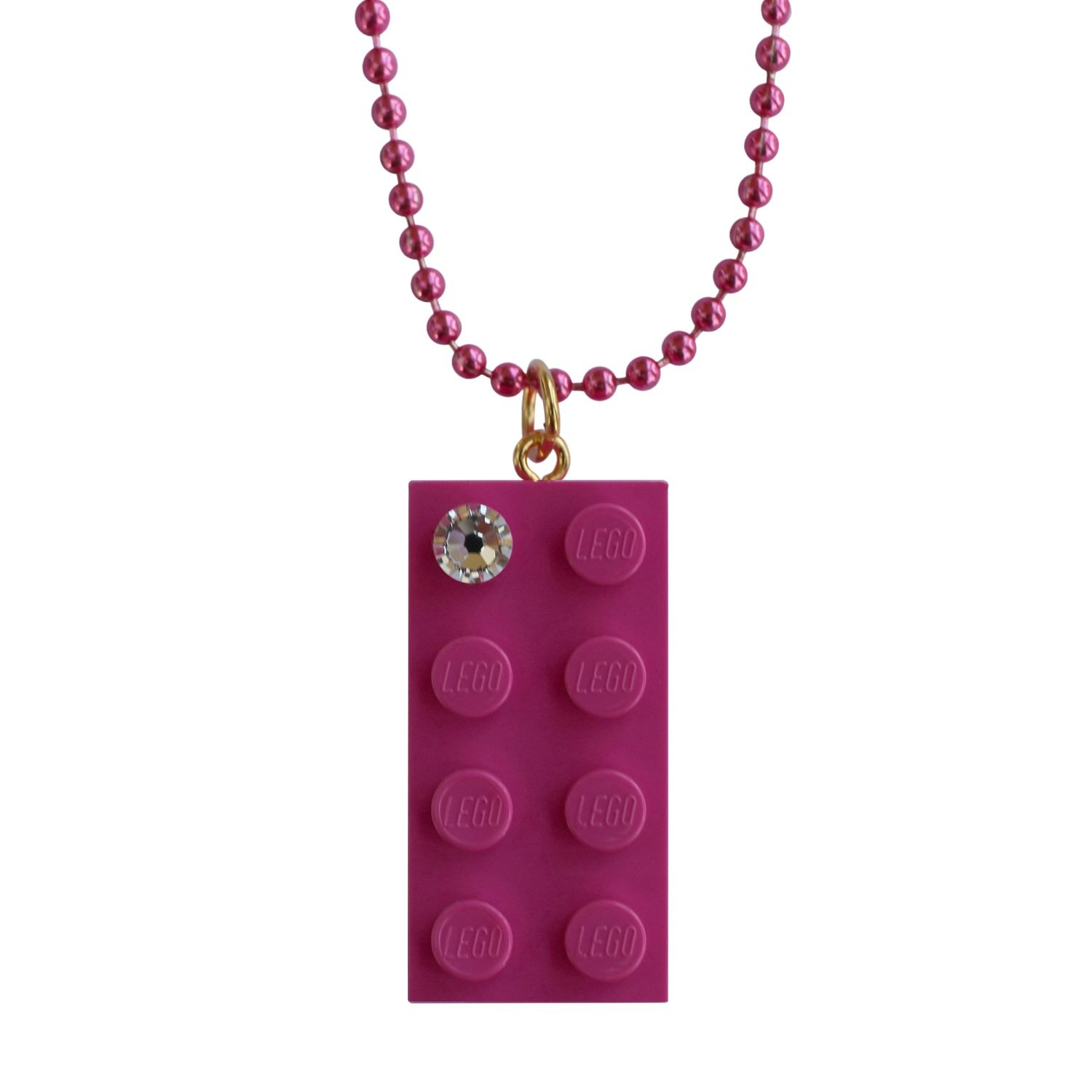 "Dark Pink LEGO® brick 2x4 with a 'Diamond' color​ SWAROVSKI® crystal on a 24"" Pink ballchain"