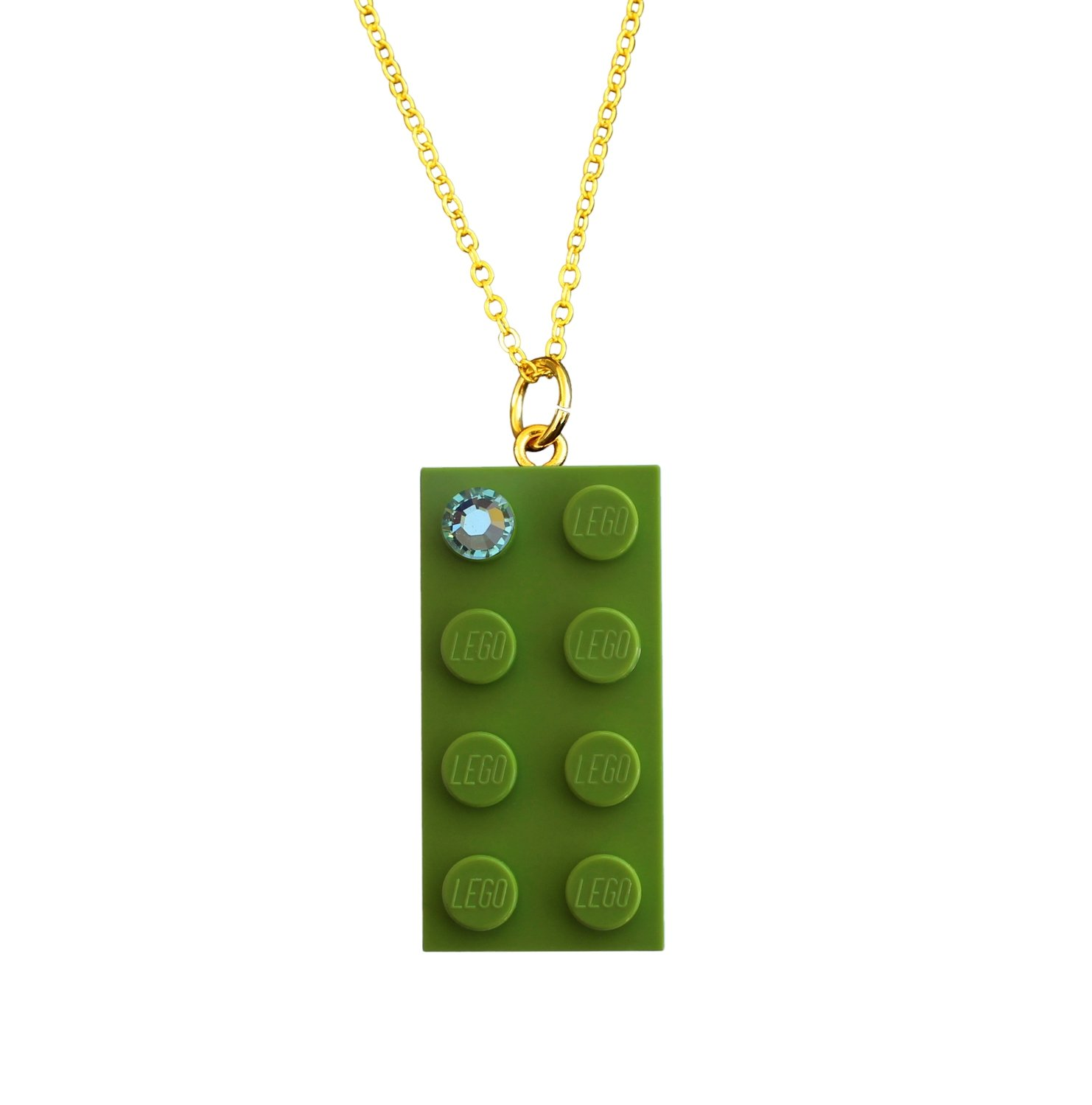 "Light Green LEGO® brick 2x4 with a Green SWAROVSKI® crystal​ on a Gold plated trace chain (18"" or 24"")"