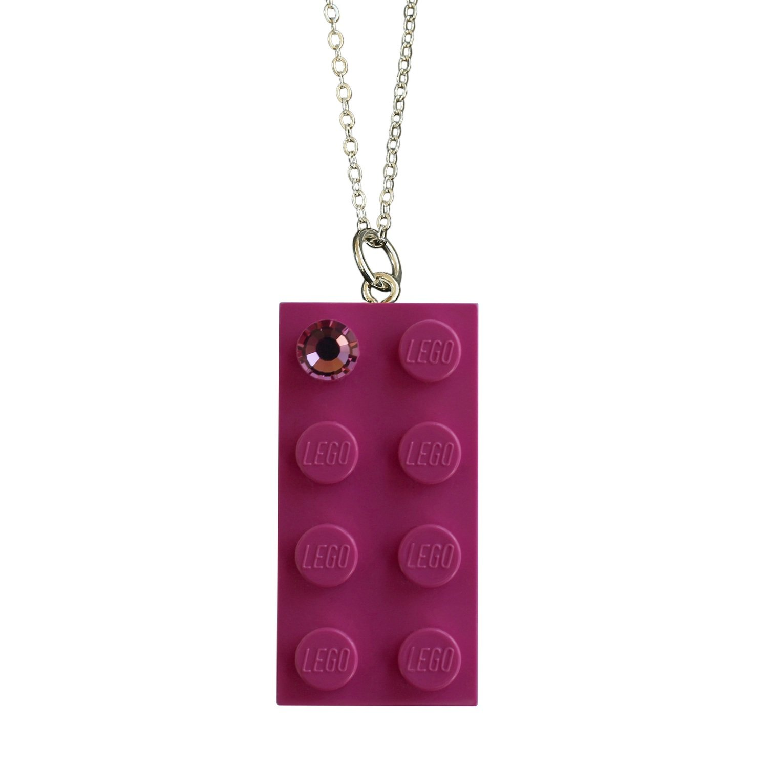 "Dark Pink LEGO® brick 2x4 with a Pink SWAROVSKI® crystal on a Silver plated trace chain (18"" or 24"")​"