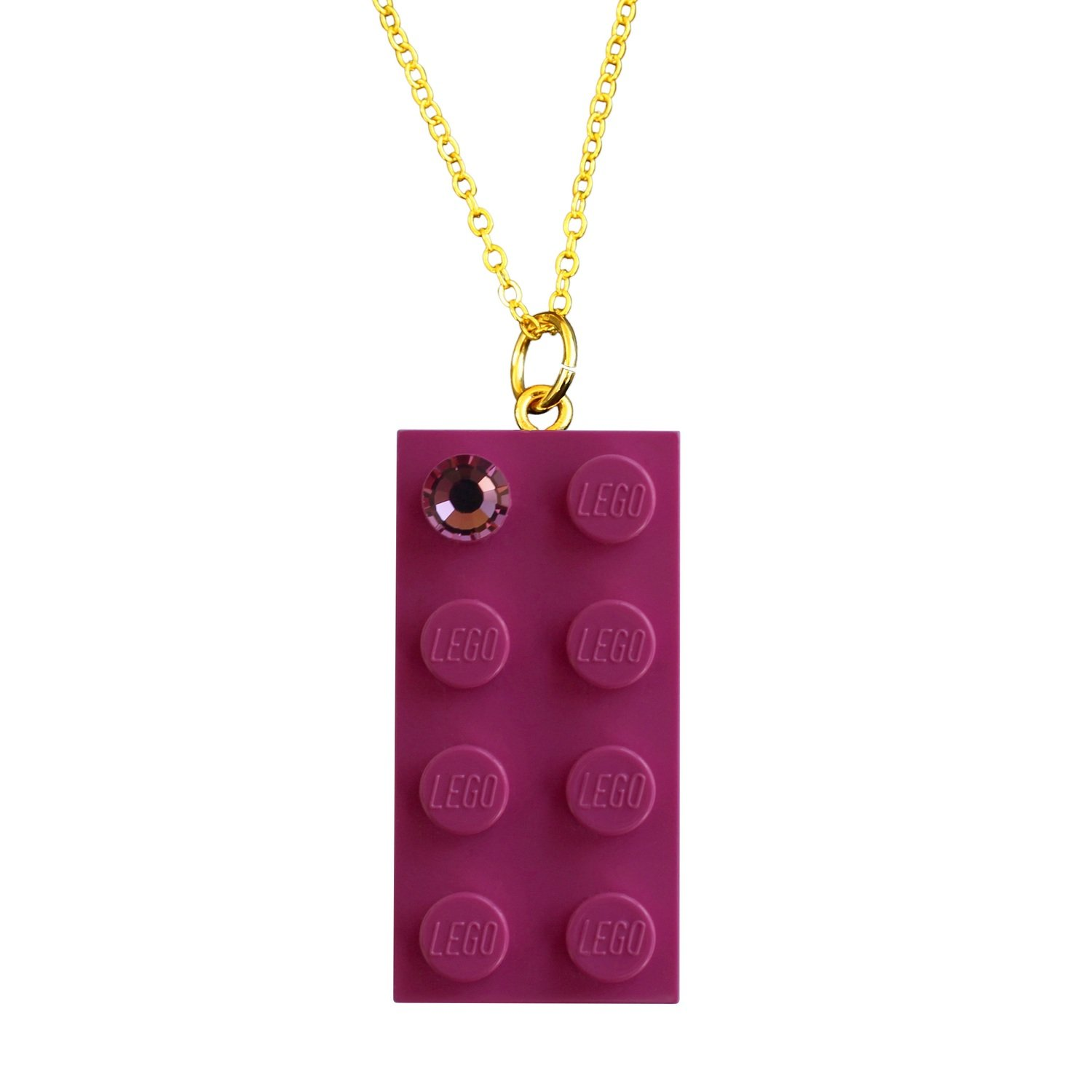 "Dark Pink LEGO® brick 2x4 with a Pink SWAROVSKI® crystal on a Gold plated trace chain (18"" or 24"")"