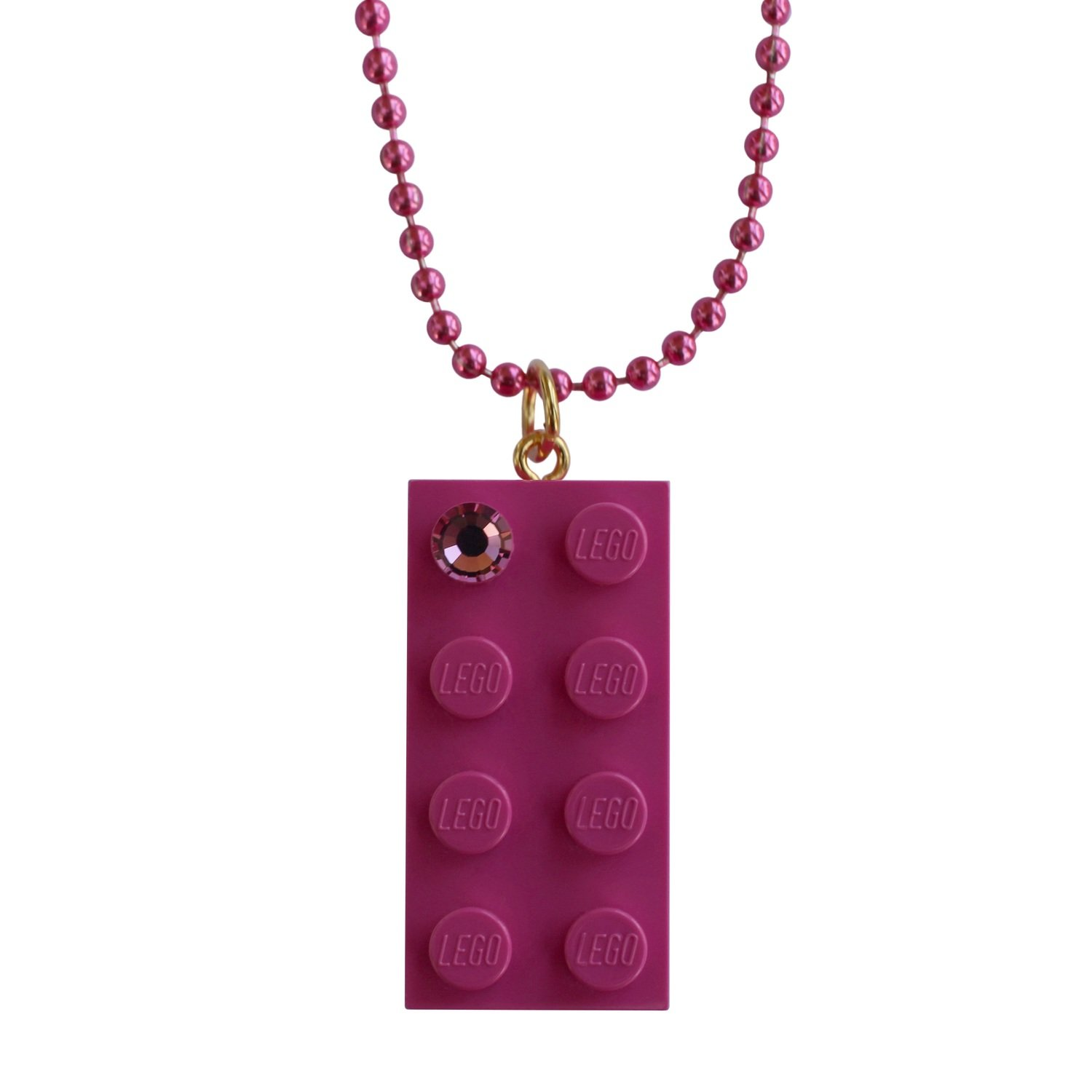 "Dark Pink LEGO® brick 2x4 with a Pink SWAROVSKI® crystal on a 24"" Pink ballchain"