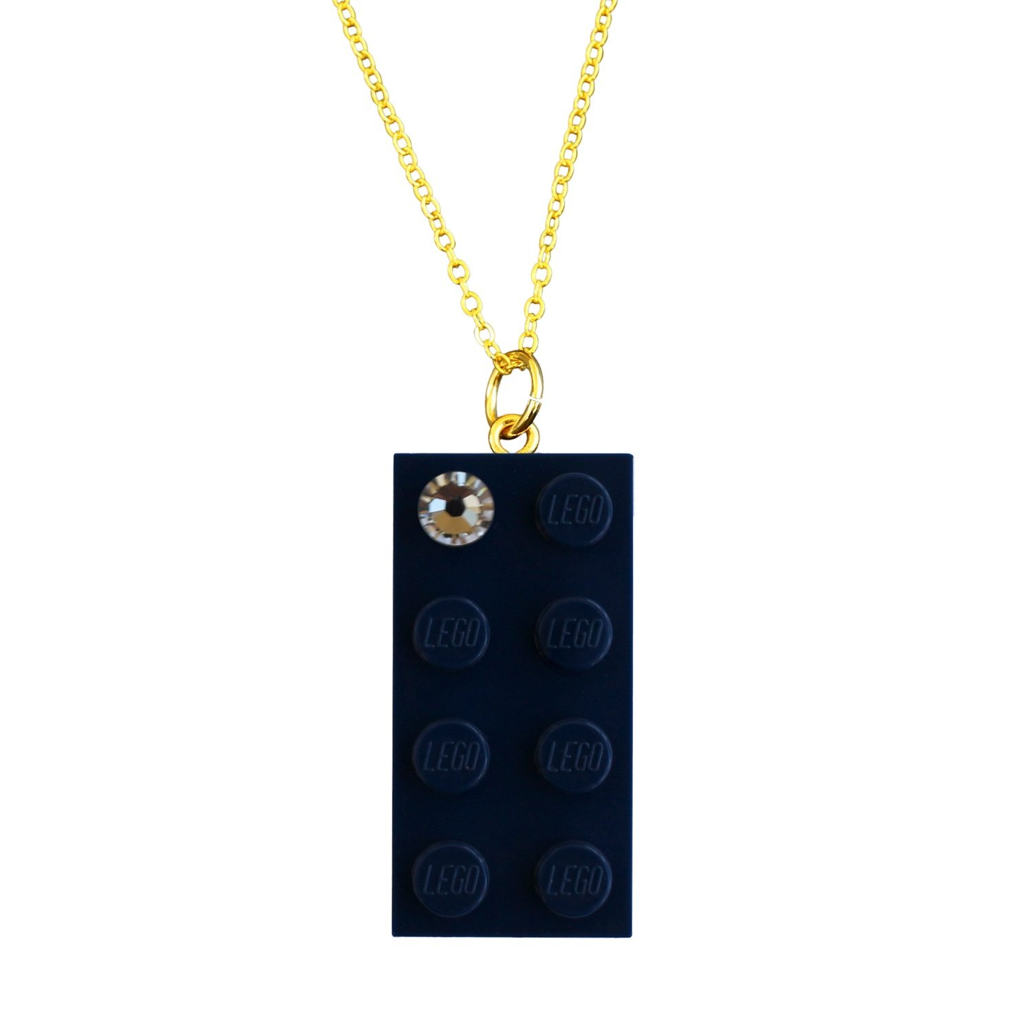 """Navy Blue LEGO® brick 2x4 with a 'Diamond' color SWAROVSKI® crystal on a Gold plated trace chain (18"""" or 24"""")"""
