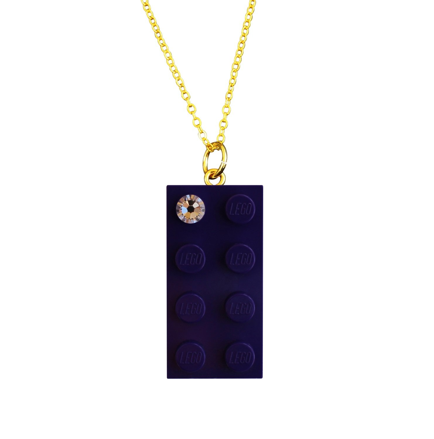 """Purple LEGO® brick 2x4 with a 'Diamond' color SWAROVSKI® crystal on a Gold plated trace chain (18"""" or 24"""")"""