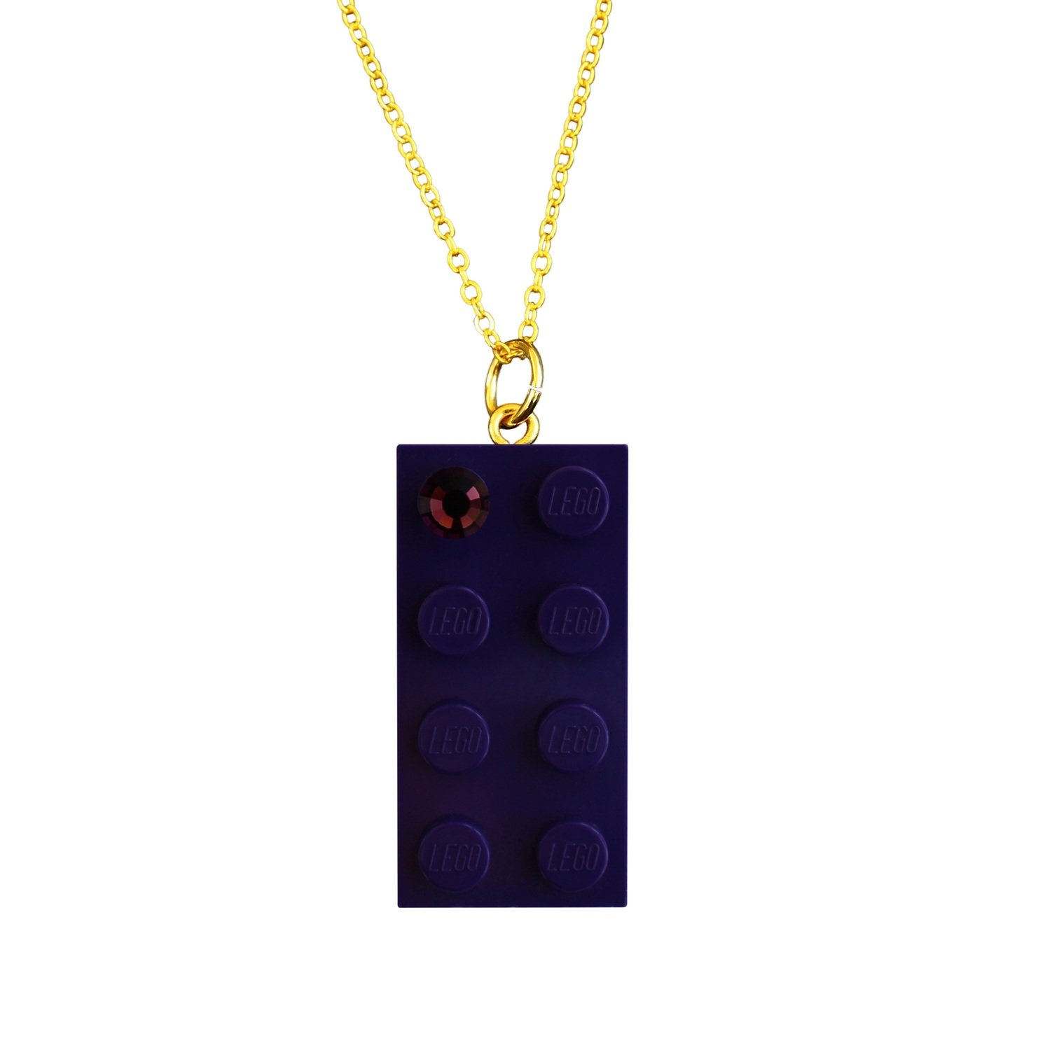 """Purple LEGO® brick 2x4 with a Purple color SWAROVSKI® crystal on a Gold plated trace chain (18"""" or 24"""")"""