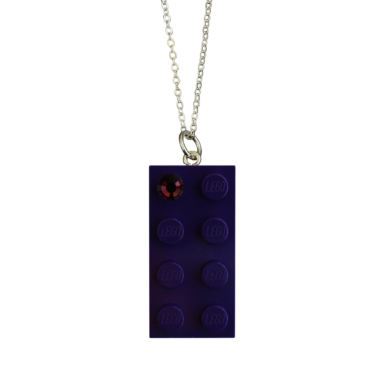 """Purple LEGO® brick 2x4 with a Purple color SWAROVSKI® crystal on a Silver plated trace chain (18"""" or 24"""")"""