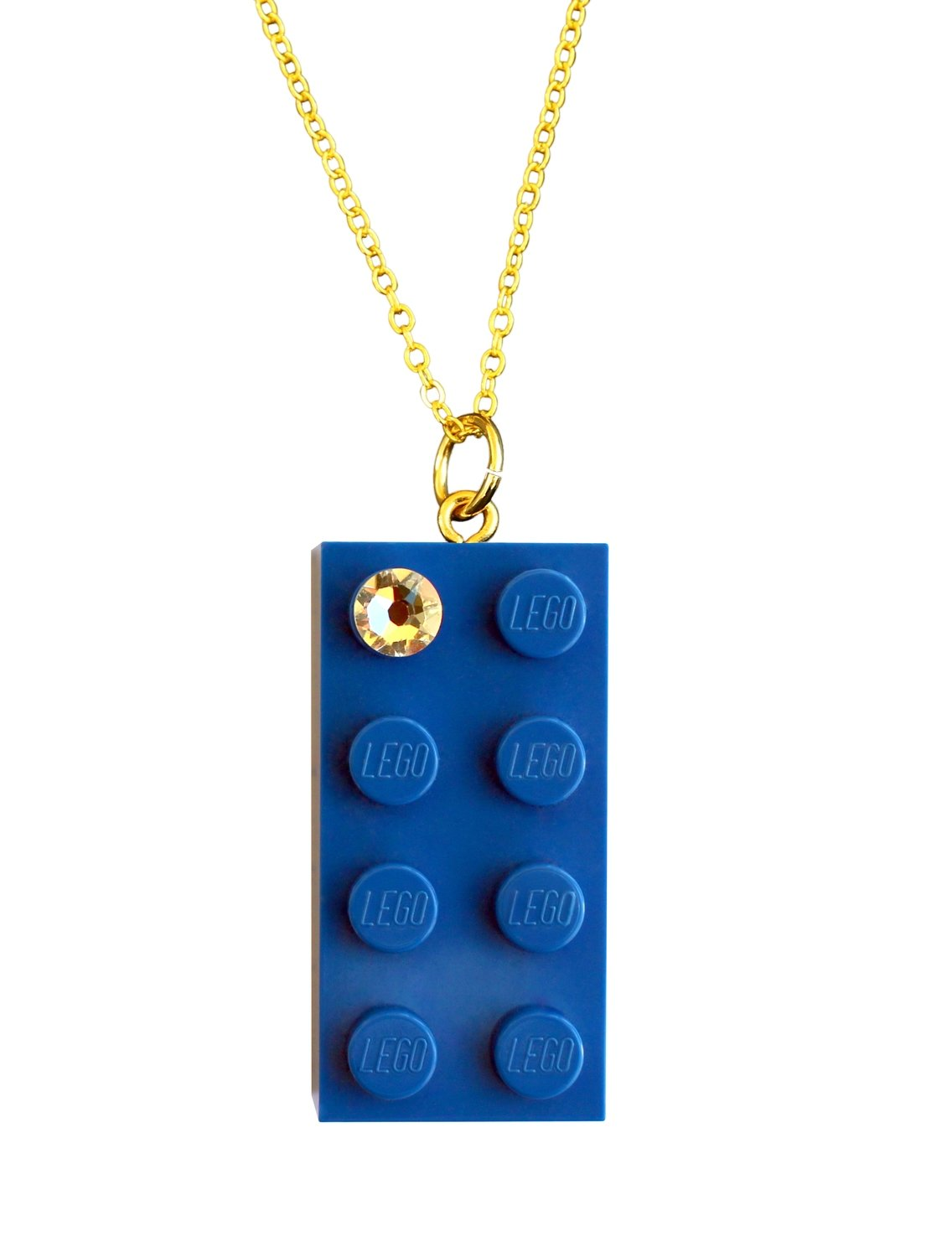 "Dark Blue LEGO® brick 2x4 with a 'Diamond' color ​ SWAROVSKI® crystal on a Gold plated trace chain (18"" or 24"")"