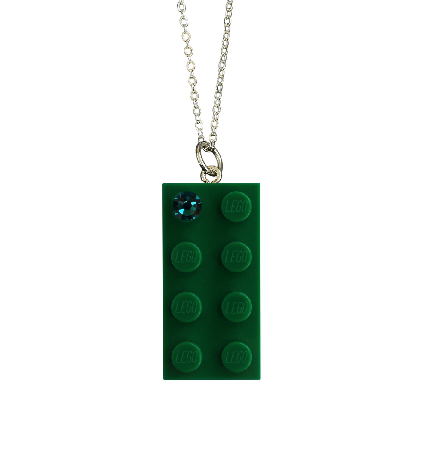 "Dark Green LEGO® brick 2x4 with a Green SWAROVSKI® crystal on a Silver plated trace chain (18"" or 24"")"