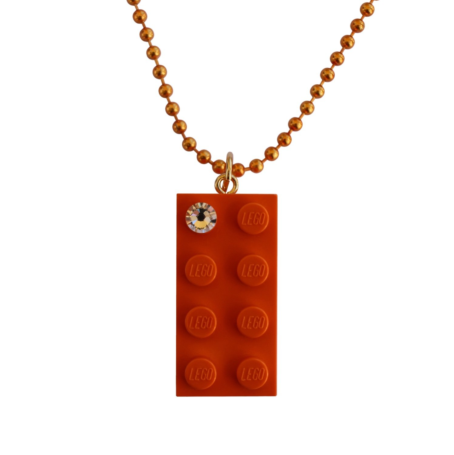 "Orange LEGO® brick 2x4 with a 'Diamond' color SWAROVSKI® crystal on a 24"" Orange ballchain"
