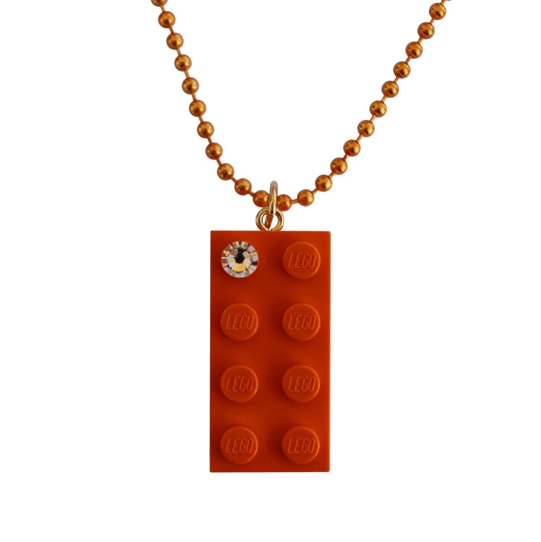 "Orange LEGO® brick 2x4 with a 'Diamond' color SWAROVSKI® crystal on a 24"" Orange ballchain"