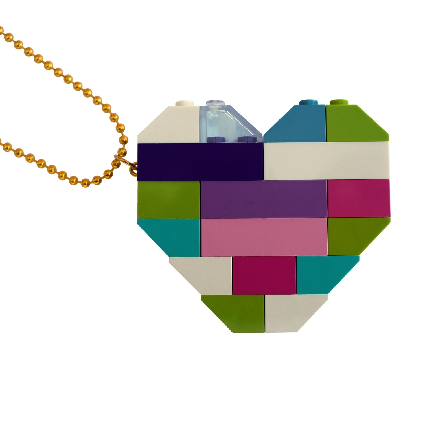 """Collectible heart pendant (Double thickness) Model 4 - made from LEGO® bricks on a 24"""" Gold plated ballchain"""