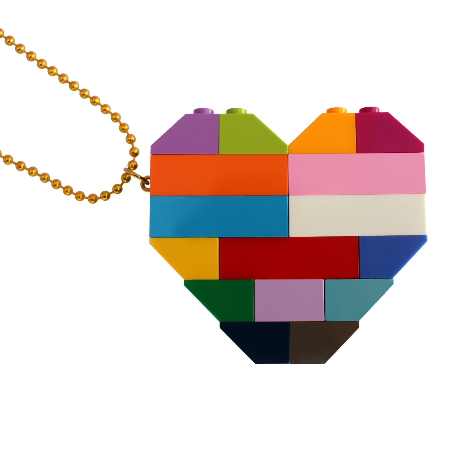 """Collectible heart pendant (Double thickness) Model 5 - made from LEGO® bricks on a 24"""" Gold plated ballchain - COLORFUL"""