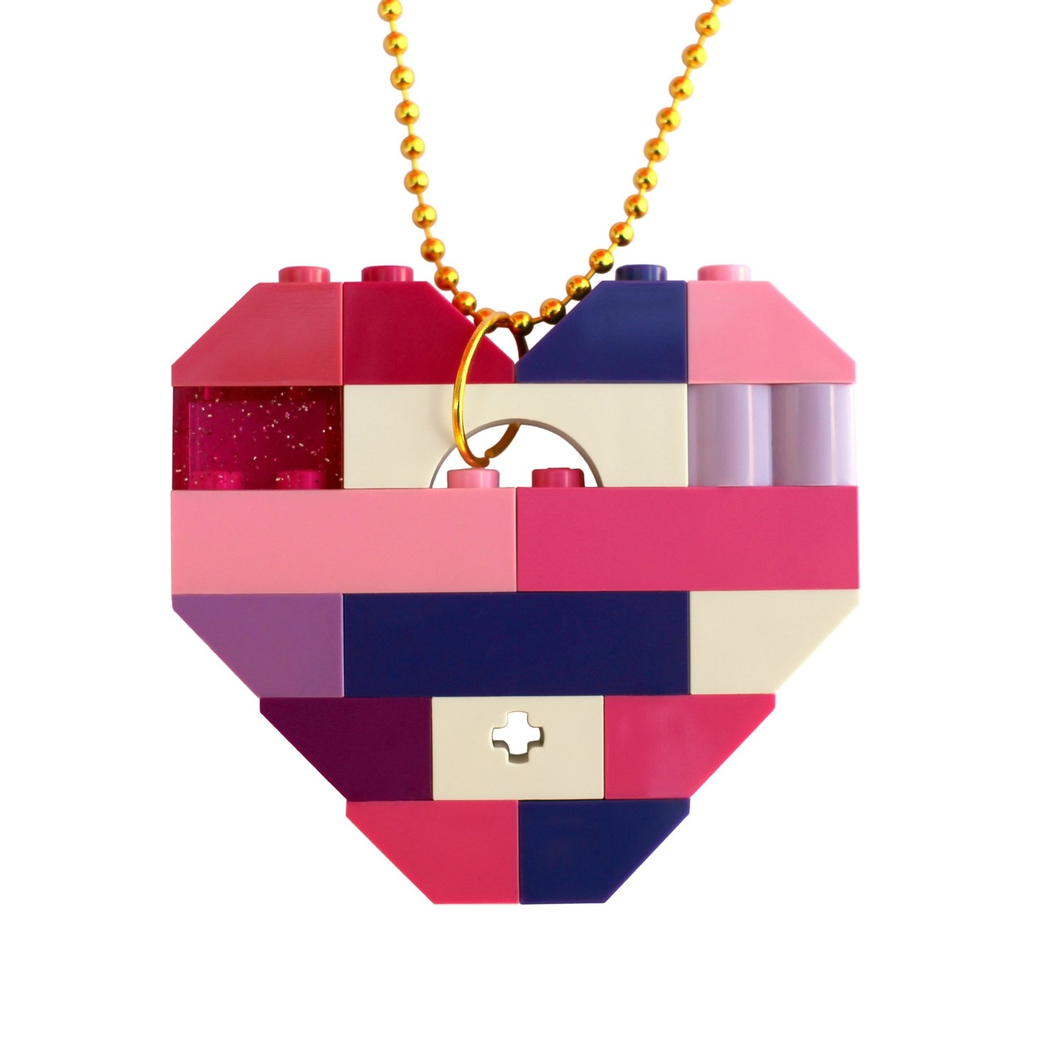 "​Collectible heart pendant (Single thickness) Model 10 - made from LEGO® bricks on a 24"" Gold plated ballchain - KAWAII PINK & PURPLE"