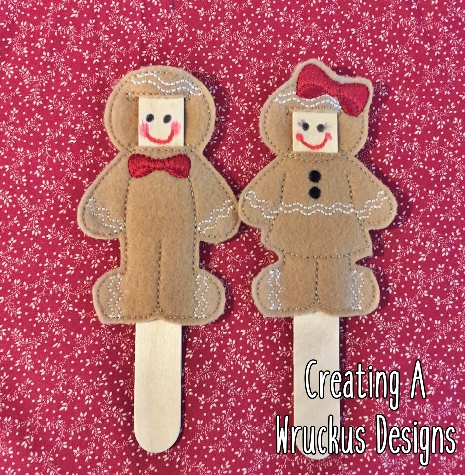 "Gingerbread ""Make A Face"" Stick Puppets."