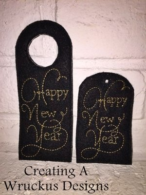 Happy New Year Wine Bottle Tag