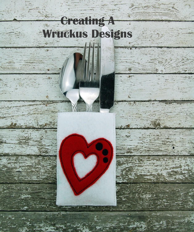 Heart Silverware Pocket Four