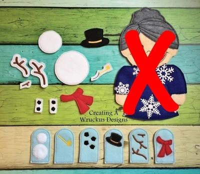 Old Lady Swallowing Snow Add-on - SNOWMAN PIECES ONLY, NO OLD LADY