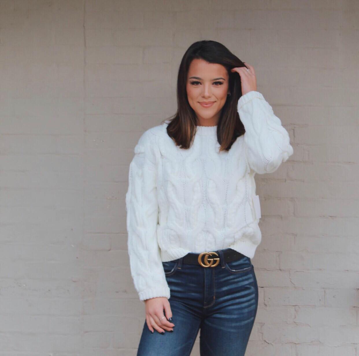 White Braided Sweater