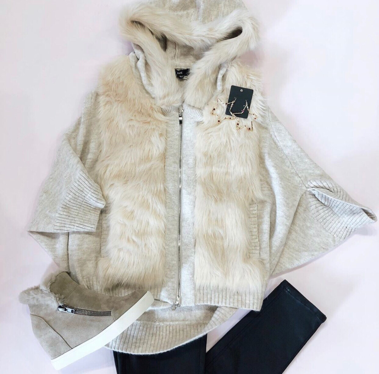 Tan Fur Zip Up Sweater Jacket