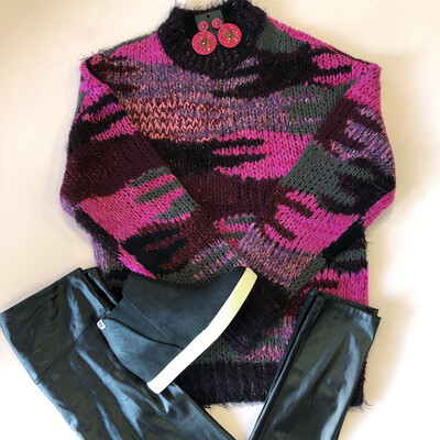 Pink Shimmer Camouflage Sweater