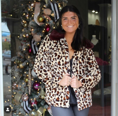 Leopard Fur With Crimson Collared Jacket