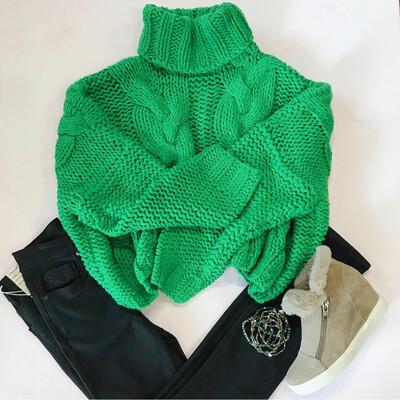 Kelly Green Turtleneck Sweater