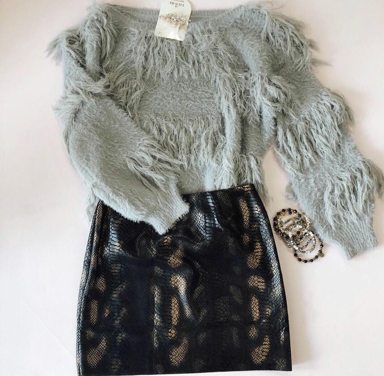 Grey Shag Sweater