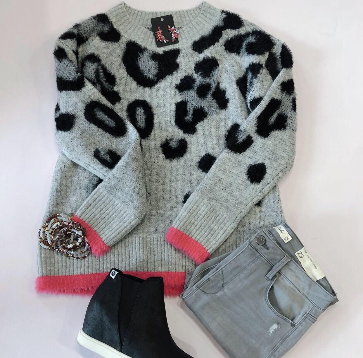 Pink Trim Leopard Sweater